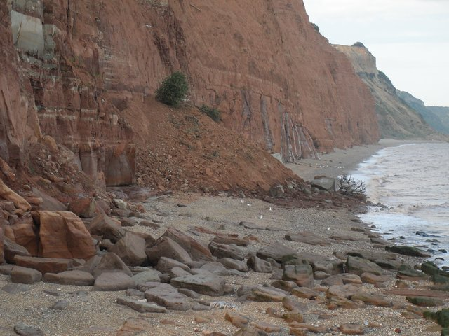 Further landslide at the Ham in Sidmouth... but people still risking their lives... image