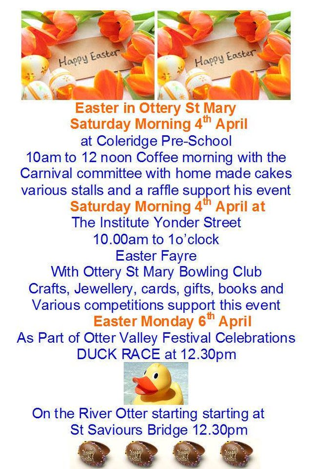 Final reminder of Easter Monday Activities image