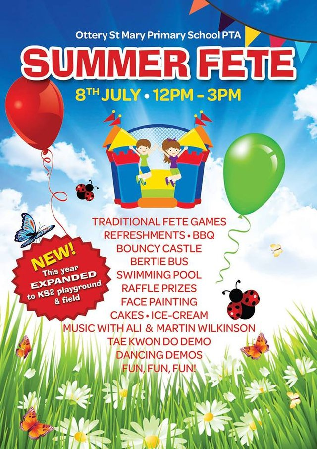 Ottery St Mary Primary School Fete - this Saturday 8 July 2017 image