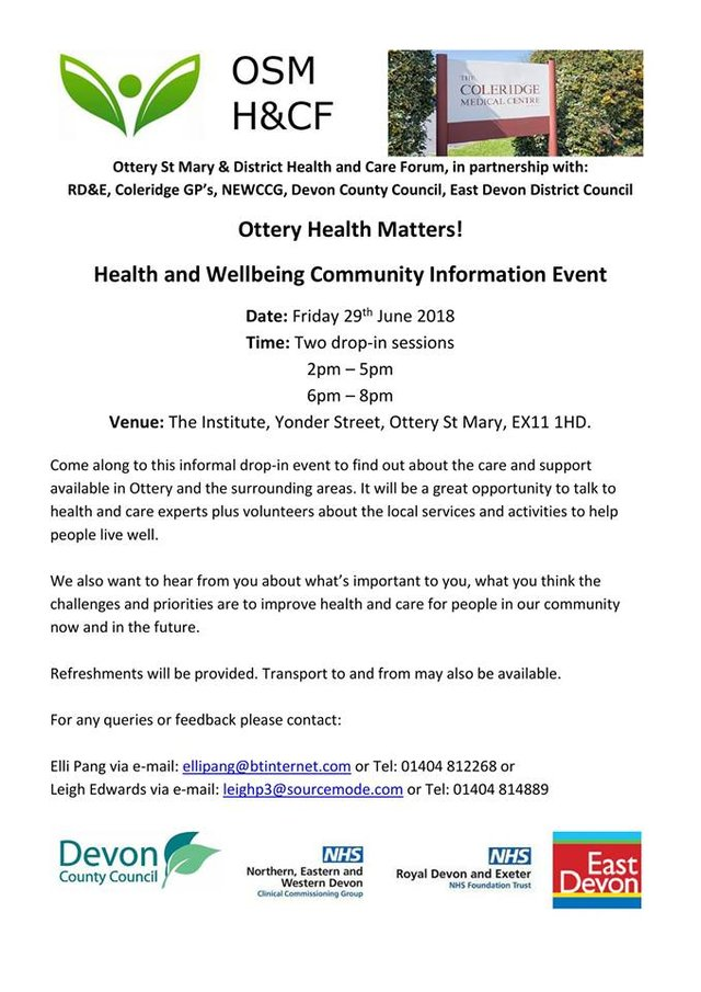 Ottery Health Matters - Have your say image