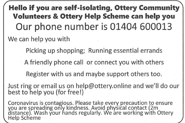 Help is at hand - Ottery Community Volunteers & Ottery Help Scheme image